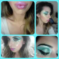 Mermaid inspired makeup, green/blue shimmer eyes and candy pink glitter lips