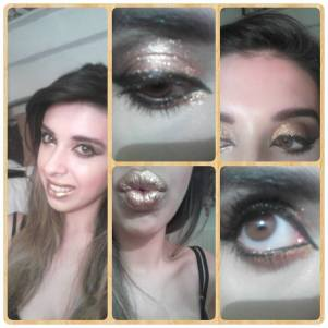 Golden girl, a smokey eye consisting of 2 different golds, chocolate brown and black and a metallic gold lips