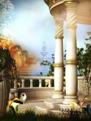 fantasy background palace cartoon backgrounds magic digital backdrops attractive vinyl children lovely garden backdrop enlarge