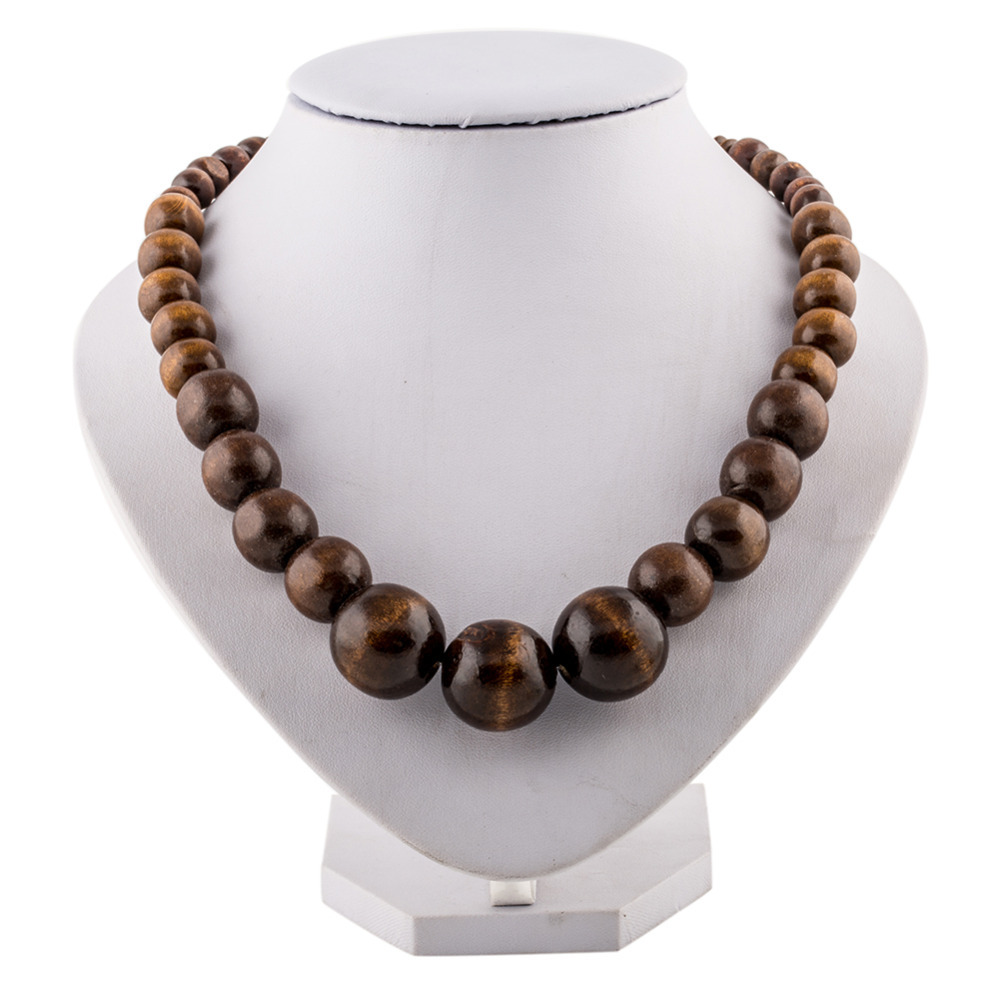 Beaded Jewelry Wooden Beads Necklace Women Long Wooden