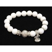 10mm White Coral Crystal Bracelet with Money Bag Charm1