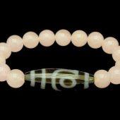 2 Eyes Dzi Bead with 10mm Rose Quartz Bracelet1