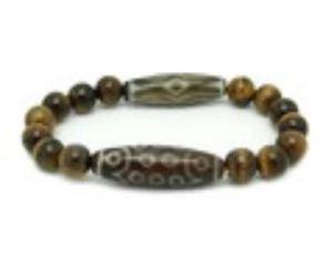 21 Eye & Dragon Eye Dzi Beads with Tiger Eye Bracelet