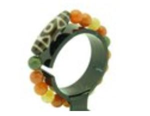 3 Eyed Dzi with 10mm Fuk Luk Sau Jade Bracelet