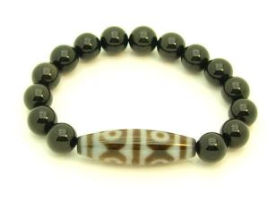 6 Eyes Dzi Bead With 10Mm Rainbow Obsidian Bracelet