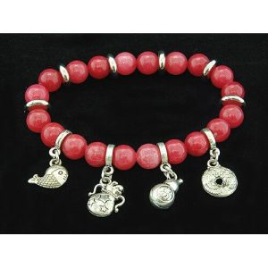 8mm Red Coral Crystal Bracelet with Auspicious Charms1