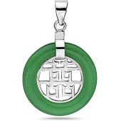 925 Silver Double Happiness Jade Disc Pendant