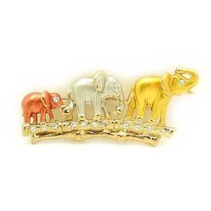 Bejeweled Elephant Family Brooch1