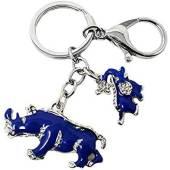 Blue Rhino with Elephant Protection Key Chain
