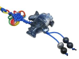 Blue Rhinocerous with Bird Tassel for Protection