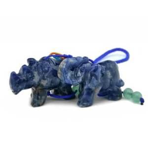 Blue Sodalite Rhinoceros and Elephant Protective Tassel1