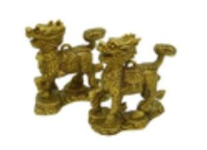 Brass Pair of Chi Lin on Pakua