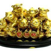 Bunch of Good Fortune Golden Piglets