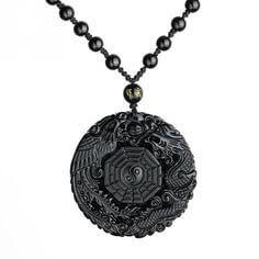 Dragon Phoenix & Yin Yang Bagua Black Jade Pendant Necklace