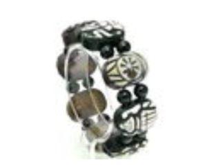 Dzi Agate with Eight Auspicious Symbols Bracelet