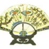 Enamel Cloisonne Fan with Pair of Cranes