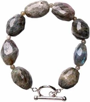 Faceted Oval Labradorite Band Bracelet