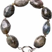Faceted Oval Labradorite Band Bracelet