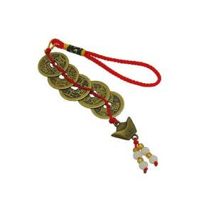 Feng Shui Five I Ching Coins with Gold Ingot Hanging1