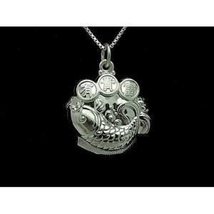 Fine Silver Prosperity Carp with Coins Pendant Necklace1