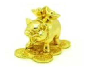 Golden Pig Carrying Gold Ingots on Coins