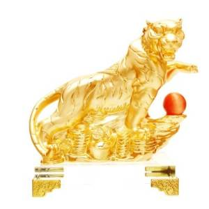 Golden Tiger Grasping Ball with Treasures