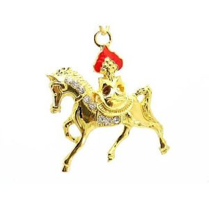Golden Wind Horse for Success Keychain1