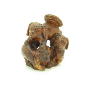 Mali Wood Three Playing Dogs Carving1
