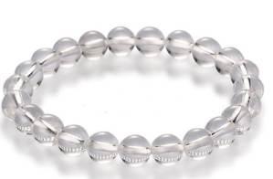 Om Mani Padme Hum Clear Quartz 10mm Bracelet