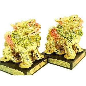 Pair of Golden Feng Shui Chi Lin1
