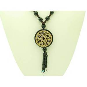 Round Obsidian with Gold Sanded Om Mani Padme Hum Bead Pendant Necklace1