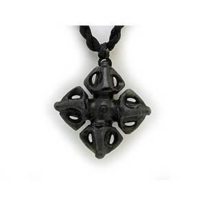 Tibet Iron Nickel Double Dorje Pendant Necklace1