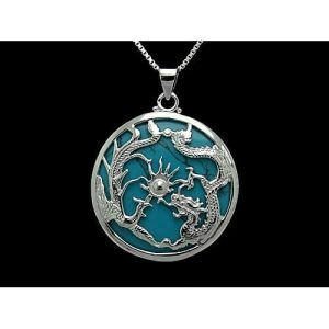 Turquoise with Silver Dragon & Phoenix Pendant Necklace1