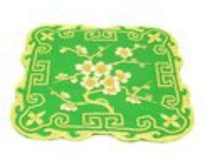 10Crt Gold Thread Silk Embroidered Peach Blossom Mat
