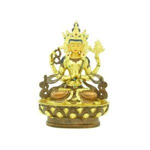 5 Inch Avaloketesvara - Four Armed Tibetan Chenrezig1