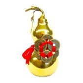 6 Inch Golden Brass Wu Lou with Six Gold Coins