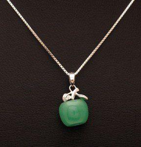 925 Silver Green Jade Apple Pendant