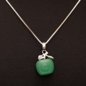 925 Silver Green Jade Apple Pendant