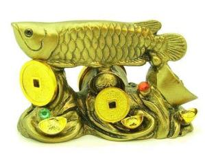 Arowana on Bed of Coins and Gold Ingots1