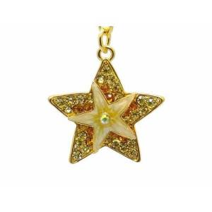 Bejeweled Starburst Keychain Good Luck Charm1