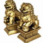 Brass Colored Temple Lions for Home Protection