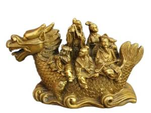 Brass Eight Immortals Sailing on Dragon Boat