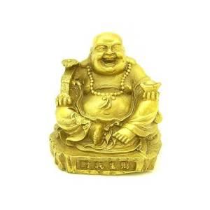 Brass Happy Buddha Holding Ruyi and Gold Ingot1