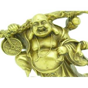 Brass Laughing Buddha Lugging Sack of Wealth1