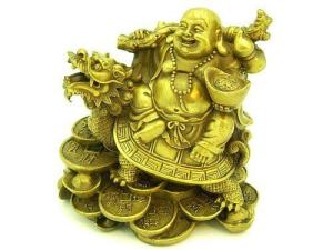 Brass Maitreya Laughing Buddha on Dragon Tortoise