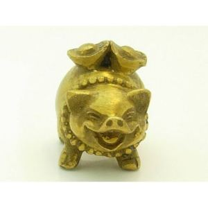 Brass Mini Pig Carrying Gold Ingot1