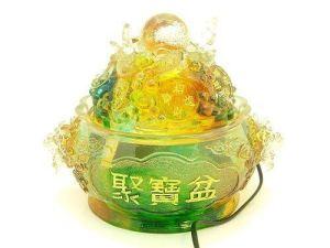 Colorful Crystal Liuli Wealth Pot Water Fountain