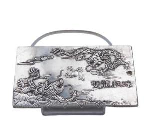 Double Dragon Silver Paperweight