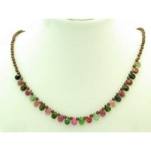 Faceted Tear Drop Mix Tourmaline with Garnet Necklace1