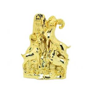 Gold Colored 3 Generation Goats on Mountain1